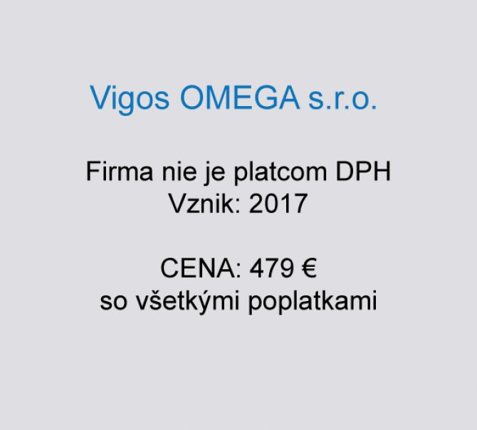 Spoločnosť na predaj Vigos OMEGA  s.r.o.